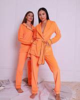Пижамный комплект (брюки +жакет  с запахом) EVA , велюр,  цвет оранжевый неон S/M/L