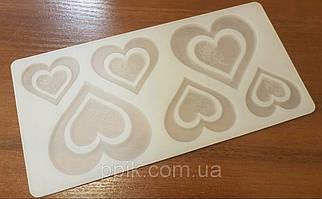 """Силіконова форма для шоколаду """"Серця з трояндою"""" 1 шт."""