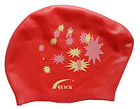 Плавательная шапочка для длинных волос (цвет красный, рисунок звёздочки), фото 1