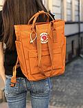 Сумка рюкзак 2в1 Kanken FJALLRAVEN Totepack Канкен 14 л Помаранчевий міської сумка-рюкзак трансформер, фото 6