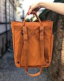 Сумка рюкзак 2в1 Kanken FJALLRAVEN Totepack Канкен 14 л Помаранчевий міської сумка-рюкзак трансформер, фото 4