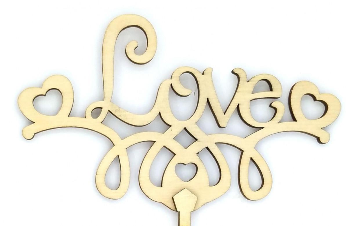 """Топпер деревянный """"LOVE с сердечками"""" 1 шт."""