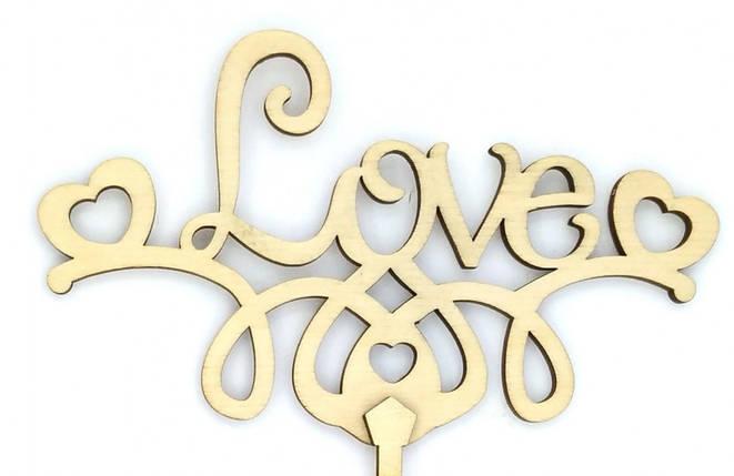 """Топпер деревянный """"LOVE с сердечками"""" 1 шт., фото 2"""