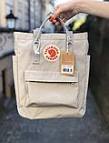 Сумка рюкзак 2в1 Kanken FJALLRAVEN Totepack Канкен 14 л серая повседневная городская сумка-рюкзак трансформер, фото 4