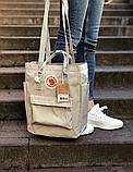 Сумка рюкзак 2в1 Kanken FJALLRAVEN Totepack Канкен 14 л серая повседневная городская сумка-рюкзак трансформер, фото 7