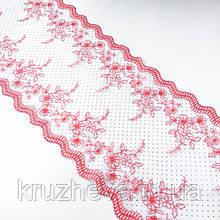 Ажурне мереживо, вишивка на сітці: нитка червоного кольору, білого кольору сітка в горох, ширина 23 см