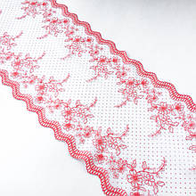 Ажурное кружево вышивка на сетке: красного цвета нить, белого цвета сетка в горох, ширина 23 см