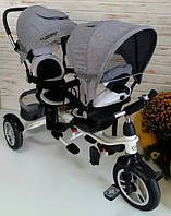 Детский трехколесный велосипед для двойни