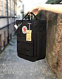Сумка рюкзак 2в1 Kanken FJALLRAVEN Totepack Канкен 14 л Чорний повсякденна міська сумка-рюкзак трансформер, фото 2
