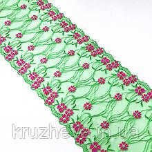 Ажурное кружево вышивка на сетке: зеленая и розовая нить по зеленого цвета сетке, ширина 20 см
