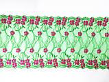 Ажурне мереживо, вишивка на сітці: зелена та червона нитка по зеленого кольору сітці, ширина 20 см, фото 4