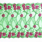 Ажурне мереживо, вишивка на сітці: зелена та червона нитка по зеленого кольору сітці, ширина 20 см, фото 5