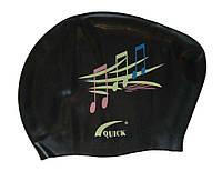 Шапочка для плавання для довгого волосся (колір чорний, малюнок ноти), фото 1