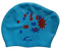 Шапочка для плавання для довгого волосся (колір блакитний, малюнок зірочки), фото 1