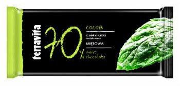 Горький классический шоколад с мятным пралине Terravita Cocoa Mietowa 70% какао, 100 гр.