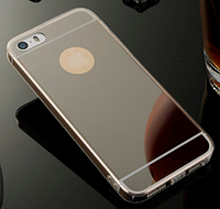 Зеркальный черный силиконовый чехол iphone 5/5S, фото 1