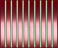 Реечные алюминиевые зеркальные потолки: медь со светло-зеленой вставкой