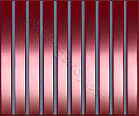 Реечные алюминиевые зеркальные потолки: медь с синей вставкой