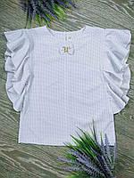 Дитяча блузка в горошок з коротким рукавом зріст 138-146 см