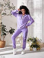 Спортивный костюм женский прогулочный красивый из двунитки худи с капюшоном р-ры  42-48  арт. 447, фото 1