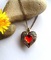 Винтажный кулон Красное огненное сердце