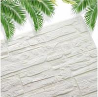 Самоклеючі 3D панелі декоративні шпалери Wall Sticker 700х770х7мм біла. 3д панелі цегла