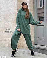 Свободный спортивный костюм тройка с худи, футболкой и штанами из турецкой двунитки весна-осень арт.  1014