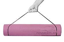 Коврик для йоги та фитнесу PowerPlay 4010 (173*61*0.6) Рожевий