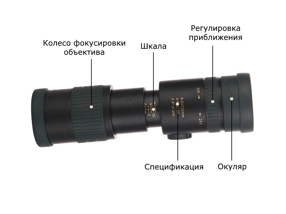 Компактний потужний монокуляр 8-24x з кріпленням для телефону. Підзорна труба, телескоп для спостереження Чорний