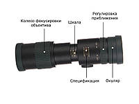 Компактний потужний монокуляр 8-24x з кріпленням для телефону. Підзорна труба, телескоп для спостереження Чорний, фото 1