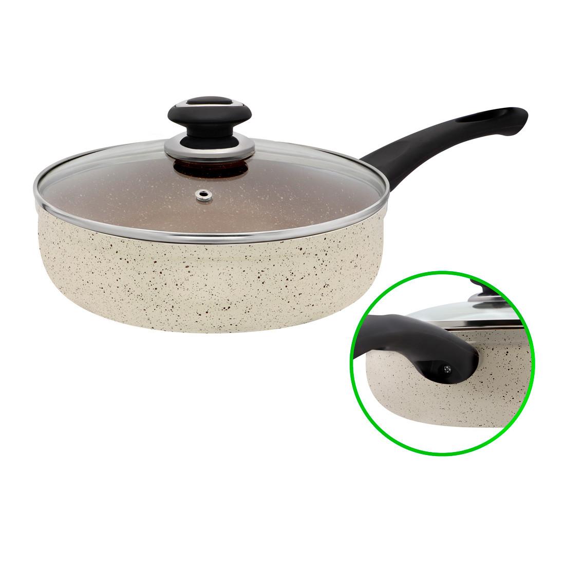 """Сковорода з мармуровим покриттям глибока D 24 Бежева FPM-243 D -""""I"""" Індукція"""