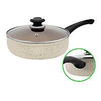 """Сковорода з мармуровим покриттям глибока D 24 Бежева FPM-243 D -""""I"""" Індукція, фото 1"""