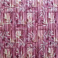 Декоративна 3Д панель 5 шт. Бамбукова кладка Рожева (самоклеючі пластикові панелі 3d під бамбук) 700x700x8 мм, фото 1