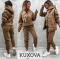 Теплый спортивный костюм тройка женский с жилетом  (штаны, худи-кофта, жилетка) р-ры 42-48,50-60 арт.    2231