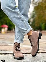 Ботинки женские замшевые цвет капучино внутри кож подклад, фото 2