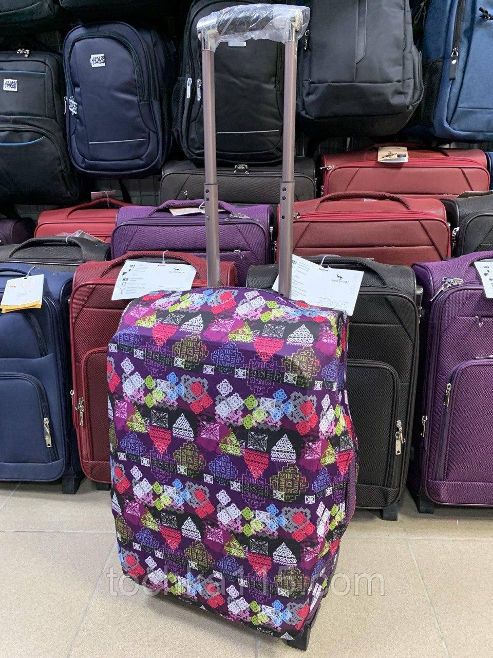 Чехол для чемодана до 65 см, чехол на средний чемодан размер М, яркий чехол принт на чемодан абстракция