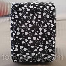 Чехол для чемодана до 65 см, чехол на средний чемодан размер М, черный чехол с сердечками