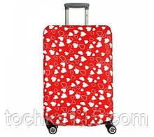 Чехол для чемодана до 65 см, чехол на средний чемодан размер М, красный чехол с сердечками