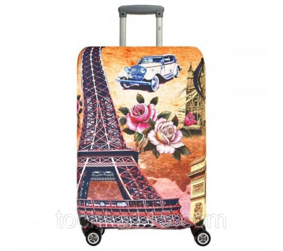 Чехол на средний чемодан Париж размер М 55-65 см, чехол нейлоновый, накидка на чемодан