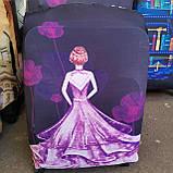 Чехол на средний чемодан Париж размер М 55-65 см, чехол нейлоновый, накидка на чемодан, фото 3