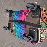 Чехол на средний чемодан фиолетовое платье размер М 55-65 см, чехол нейлоновый, накидка на чемодан, фото 5