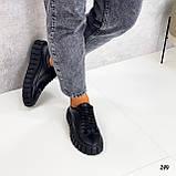 Туфлі - броги жіночі чорні на шнурівці натуральна замша, фото 3