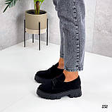 Туфлі - броги жіночі чорні на шнурівці натуральна замша, фото 6