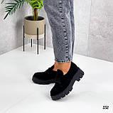 Туфлі - броги жіночі чорні на шнурівці натуральна замша, фото 5