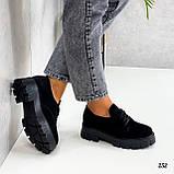 Туфлі - броги жіночі чорні на шнурівці натуральна замша, фото 4