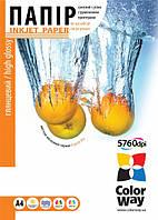 Фотобумага ColorWay глянцевая 130г/м, A4 PG130-100