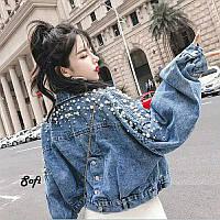 Стильная джинсовая куртка с жемчугом