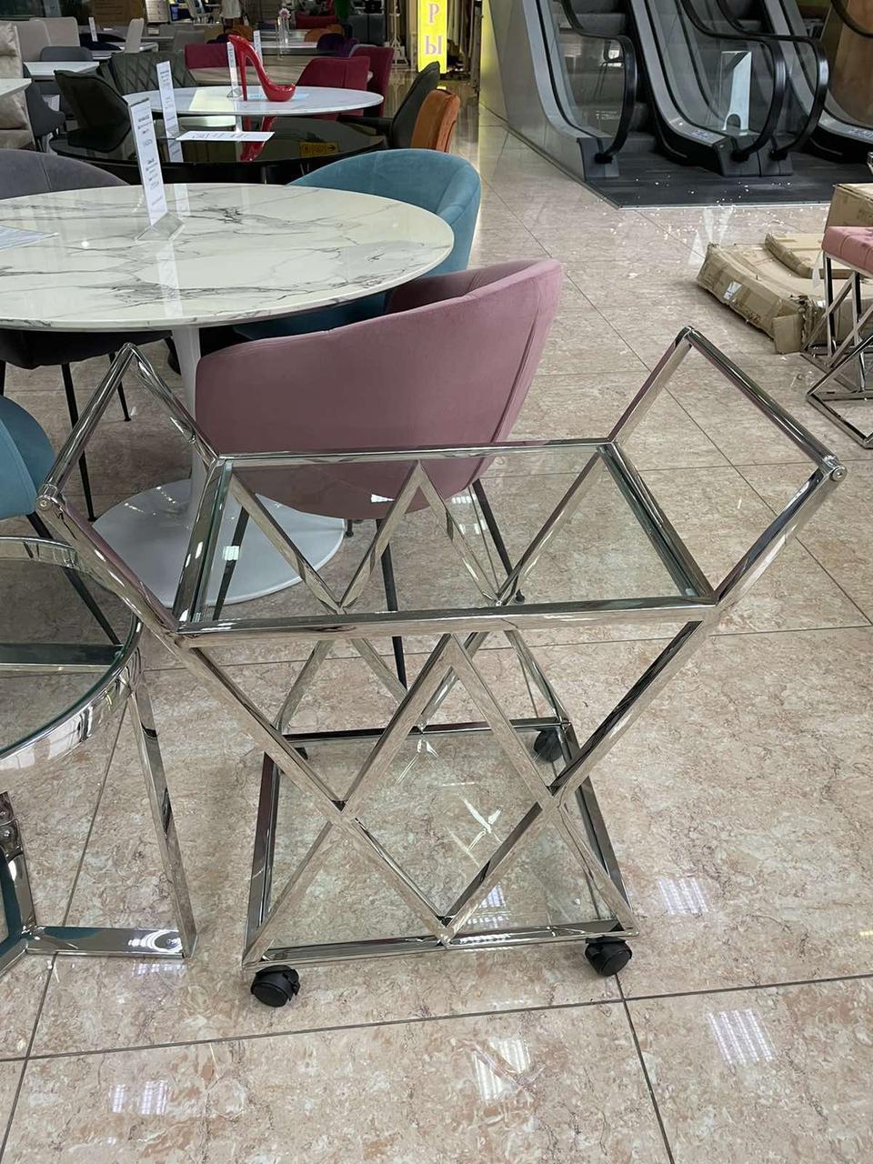 Сервірувальний/ косметологічний столик K-01 прозорий + хром від Vetro Mebel