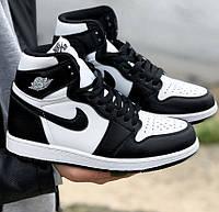 Кроссовки мужские Nike Air Jordan 1 Retro High Patent демисезонные осень-весна черные. Живое фото. Реплика
