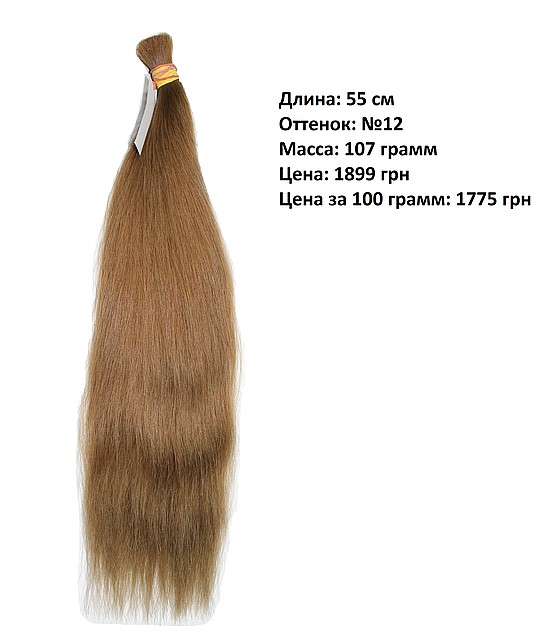 Срез натуральных окрашенных славянских волос 55 см №12